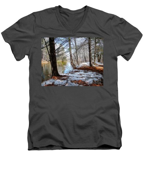 Winter's Remains Men's V-Neck T-Shirt by Betsy Zimmerli