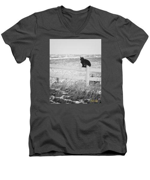 Men's V-Neck T-Shirt featuring the photograph Winter's Stalker by Rikk Flohr