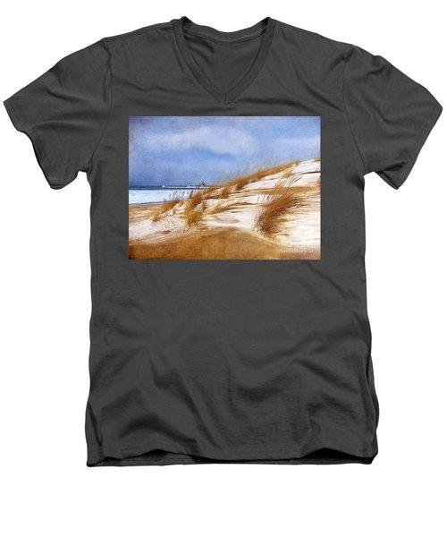 Wintertime St. Joe Lighthouse  Men's V-Neck T-Shirt