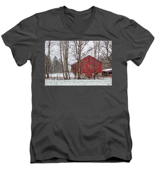 Wintry Barn Men's V-Neck T-Shirt by Skip Tribby