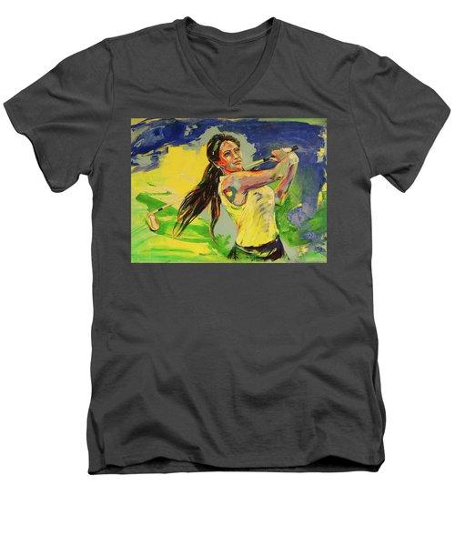 Wird Es Das Grun Erreichen  Will It Reach The Green Men's V-Neck T-Shirt by Koro Arandia