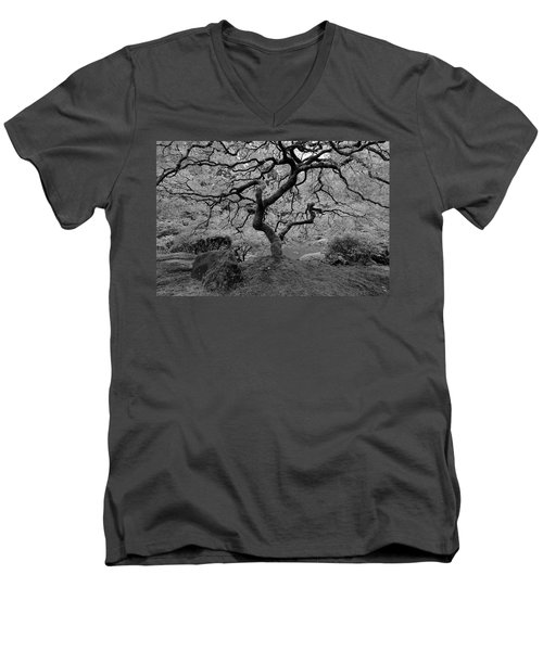 Men's V-Neck T-Shirt featuring the photograph Wisdom Bw by Jonathan Davison