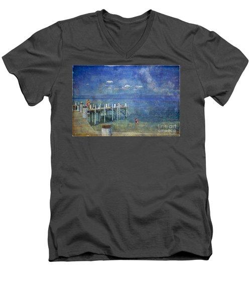 Men's V-Neck T-Shirt featuring the photograph Wish You Were Here Chambers Landing Lake Tahoe Ca by David Zanzinger