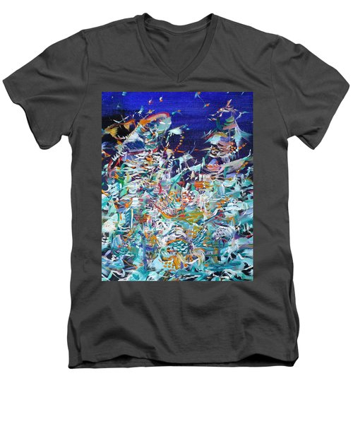 Men's V-Neck T-Shirt featuring the painting Wishes by Fabrizio Cassetta