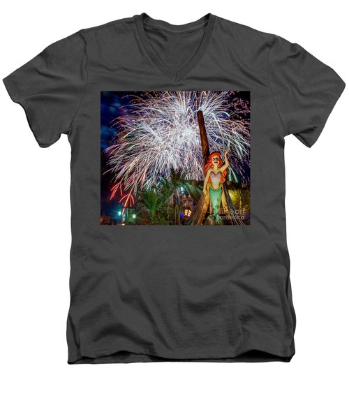 Wishes Over Prince Eric's Castle Men's V-Neck T-Shirt