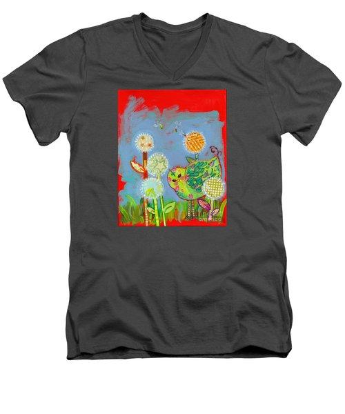 Wishful Thinking Birdy Men's V-Neck T-Shirt by Shelley Overton