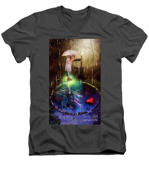 Wishing Well Men's V-Neck T-Shirt by Mo T