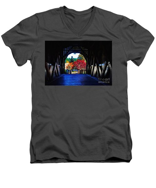 Within The Pass Creek Covered Bridge Men's V-Neck T-Shirt by Ansel Price