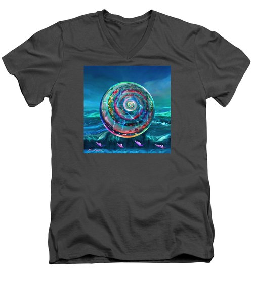 Men's V-Neck T-Shirt featuring the painting Withstanding Orby Weather by Robin Moline