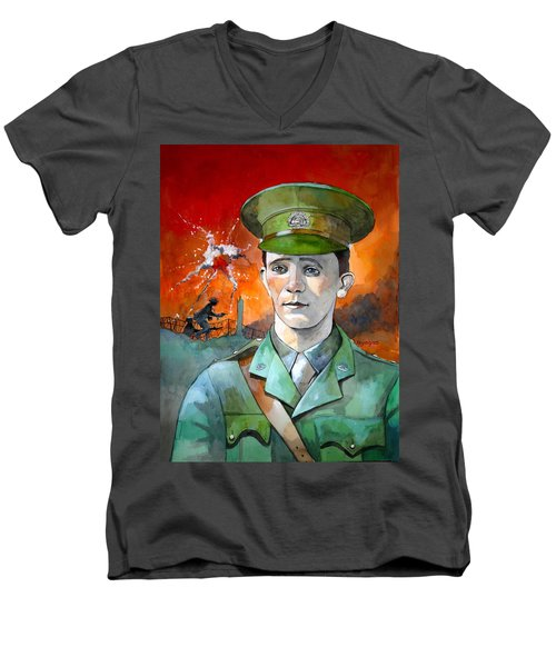 Men's V-Neck T-Shirt featuring the painting W.j. Symons Vc by Ray Agius