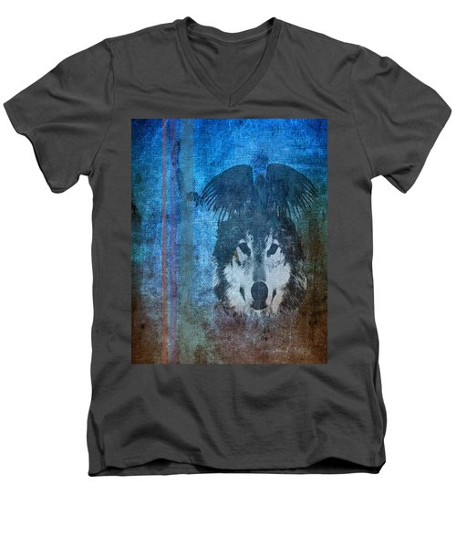 Wolf And Raven Men's V-Neck T-Shirt by Thomas M Pikolin