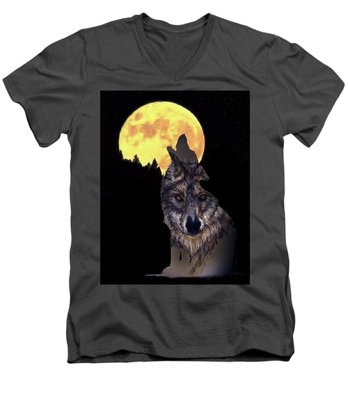 Wolf Howling At The Moon Men's V-Neck T-Shirt
