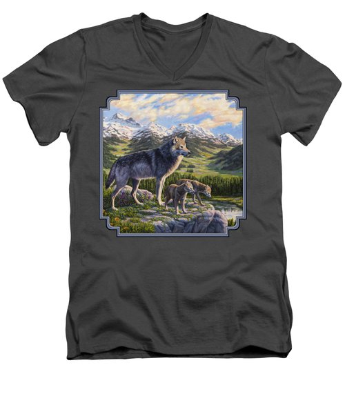 Wolf Painting - Passing It On Men's V-Neck T-Shirt by Crista Forest