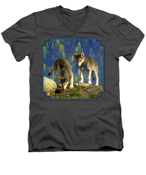 Wolf Pups - Anybody Home Men's V-Neck T-Shirt by Crista Forest
