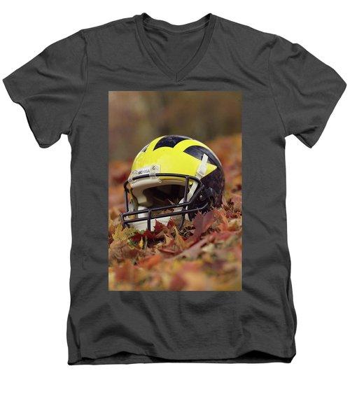 Wolverine Helmet In October Leaves Men's V-Neck T-Shirt