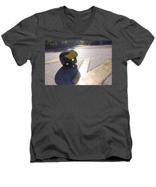 Wolverine Helmet On The Diag Men's V-Neck T-Shirt