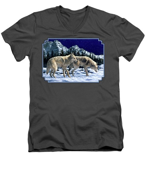 Wolves - Unfamiliar Territory Men's V-Neck T-Shirt by Crista Forest