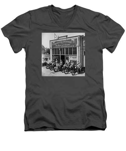 Men's V-Neck T-Shirt featuring the photograph The Motor Maids Of America Outside The Shop They Used As Their Headquarters, 1950. by Lawrence Christopher