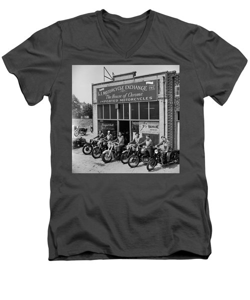 The Motor Maids Of America Outside The Shop They Used As Their Headquarters, 1950. Men's V-Neck T-Shirt