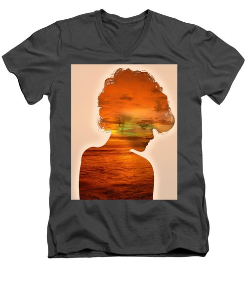 Woman And A Sunset Men's V-Neck T-Shirt