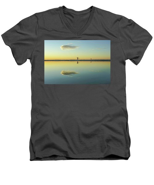 Woman And Cloud Reflected On Beach Lagoon At Sunset Men's V-Neck T-Shirt