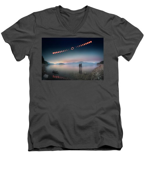 Woman And Girl Standing In Lake Watching Solar Eclipse Men's V-Neck T-Shirt