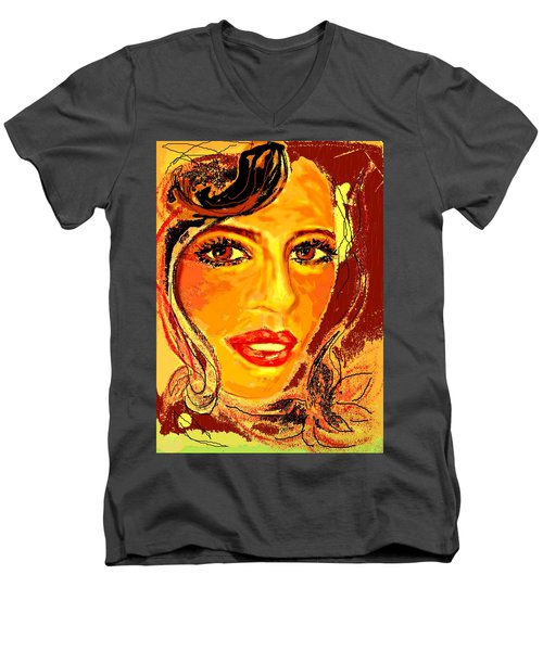 Men's V-Neck T-Shirt featuring the digital art Woman by Desline Vitto