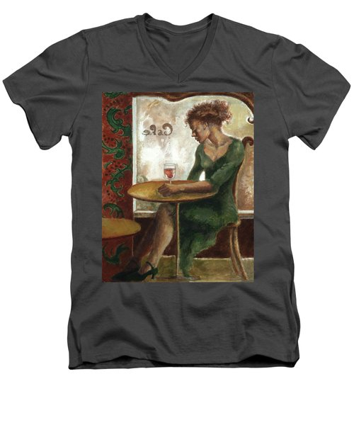Woman In A Paris Cafe Men's V-Neck T-Shirt