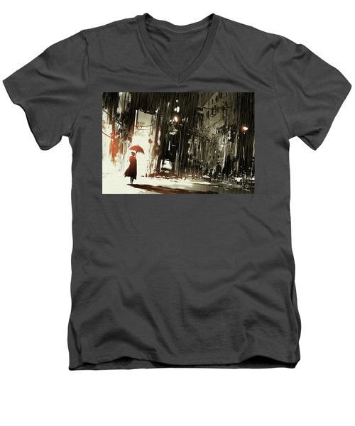 Woman In The Destroyed City Men's V-Neck T-Shirt