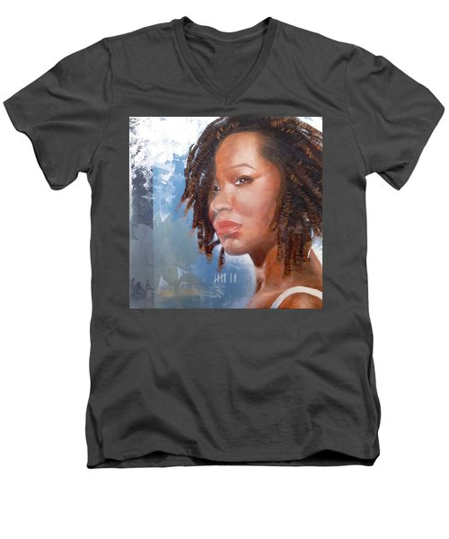 Men's V-Neck T-Shirt featuring the painting Woman Of Magdala by Christopher Marion Thomas