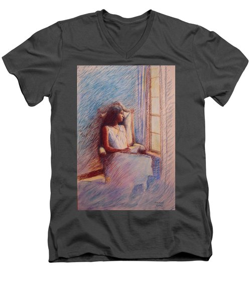 Woman Reading By Window Men's V-Neck T-Shirt