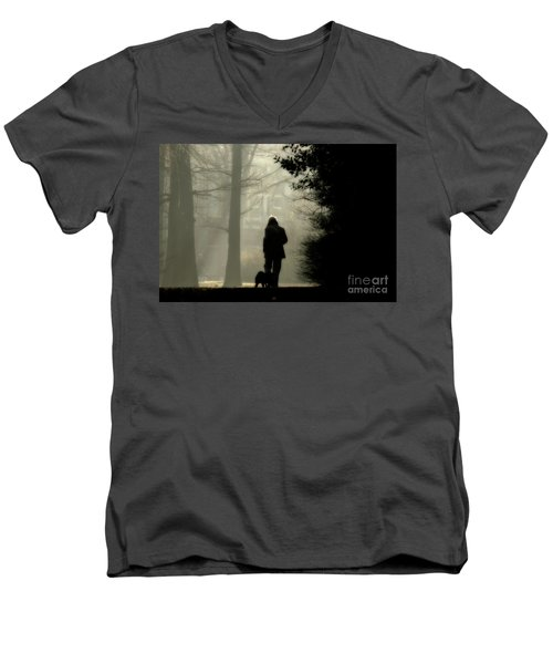 Men's V-Neck T-Shirt featuring the photograph Woman Walking Dog by Patricia Hofmeester