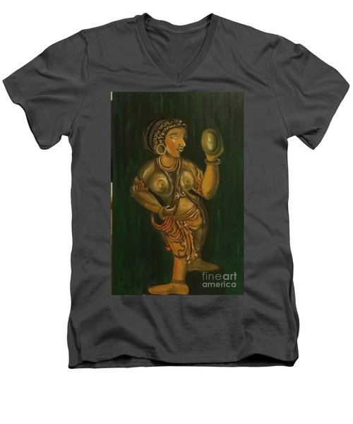Men's V-Neck T-Shirt featuring the painting Woman With A Mirror Sculpture by Brindha Naveen