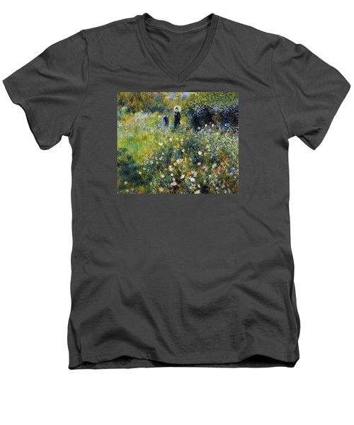 Woman With A Parasol After Renoir Men's V-Neck T-Shirt
