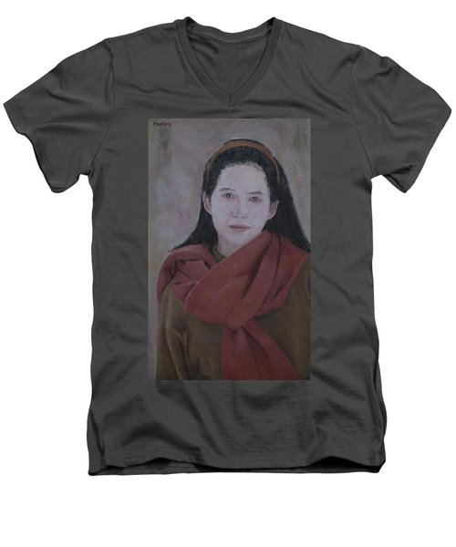 Woman With Scarf Men's V-Neck T-Shirt