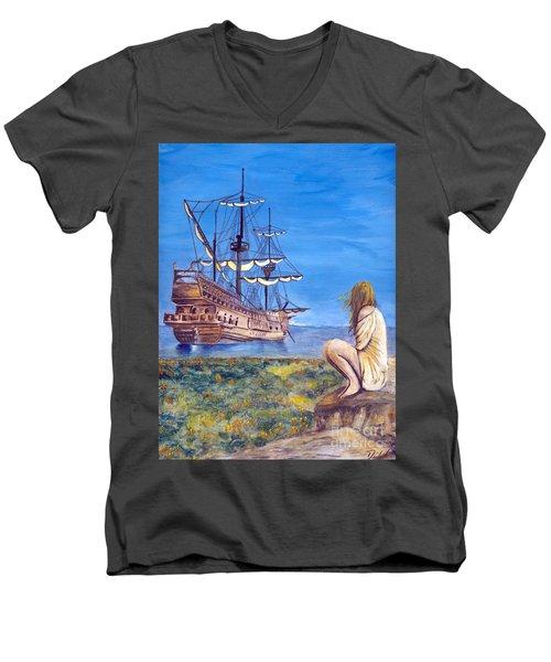 Woman With Spanish Ship Men's V-Neck T-Shirt