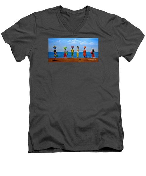 Women Of Africa  Men's V-Neck T-Shirt by Bev Conover
