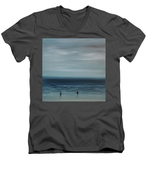 Men's V-Neck T-Shirt featuring the painting Women On The Beach by Tone Aanderaa