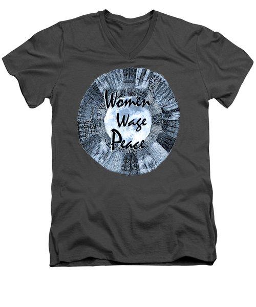Women Wage Peace Blue Men's V-Neck T-Shirt by Michele Avanti