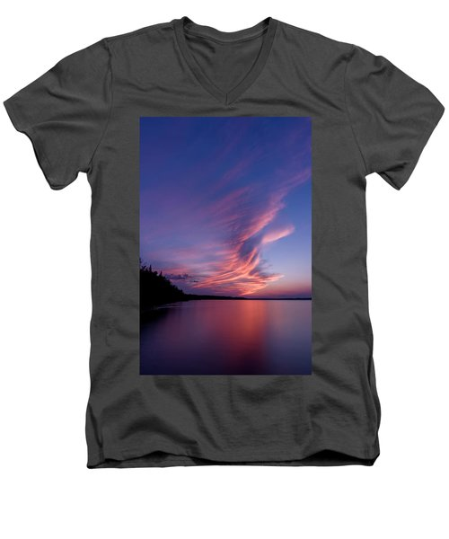 Men's V-Neck T-Shirt featuring the photograph Wonderful Skeleton Lake Sunset by Darcy Michaelchuk