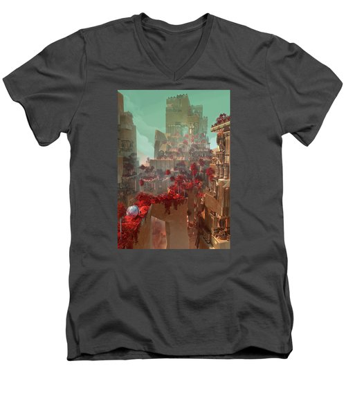 Wonders Hanging Garden Of Babylon Men's V-Neck T-Shirt by Te Hu