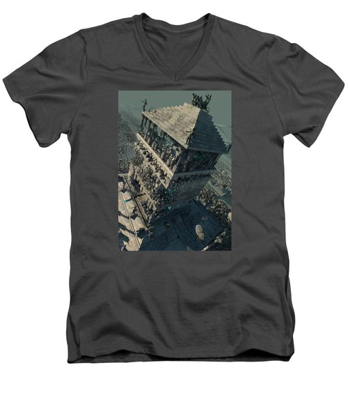 wonders Mausoleum at Halicarnassus Men's V-Neck T-Shirt by Te Hu