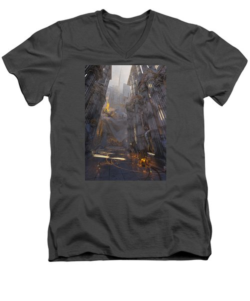 Wonders Temple Of Zeus Men's V-Neck T-Shirt by Te Hu