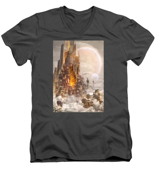 Wonders Tower Of Babylon Men's V-Neck T-Shirt by Te Hu