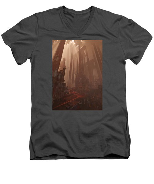 Wonders_temple Of Artmeis Men's V-Neck T-Shirt by Te Hu