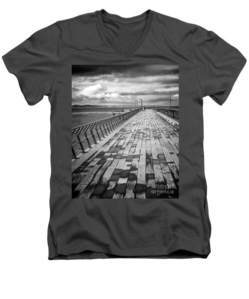 Men's V-Neck T-Shirt featuring the photograph Wood And Pier by Perry Webster