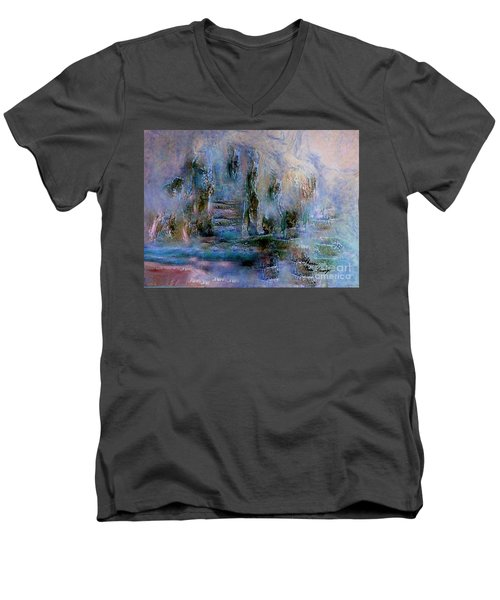 Wood Art  Lost In Time Men's V-Neck T-Shirt by Sherri's Of Palm Springs