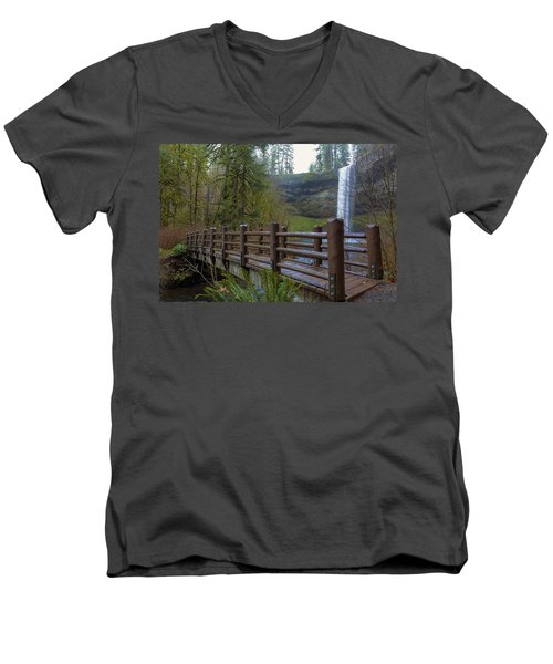 Wood Bridge At Silver Falls State Park Men's V-Neck T-Shirt
