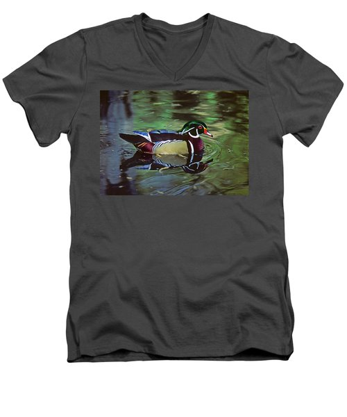 Men's V-Neck T-Shirt featuring the photograph Wood Duck by Marie Hicks
