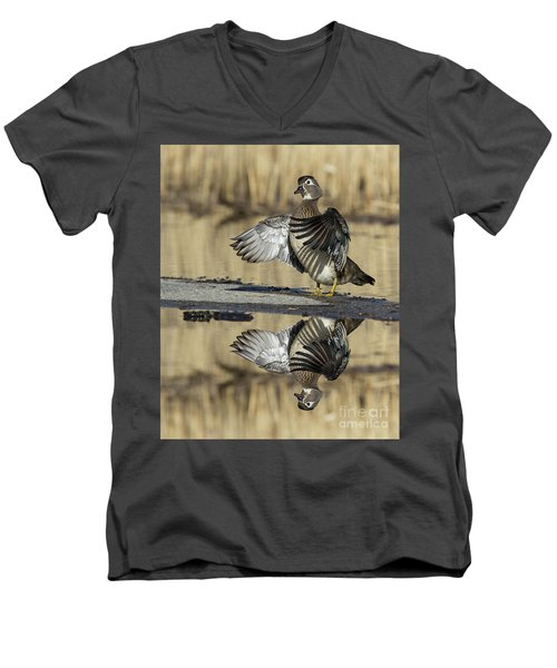 Men's V-Neck T-Shirt featuring the photograph Wood Duck Reflection by Mircea Costina Photography